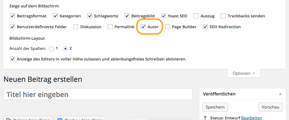Wordpress Auto ändern