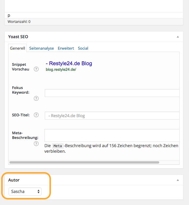 Wordpress Auto ändern